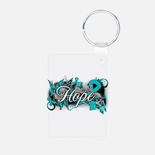Ovarian Cancer Hope Garden Ribbon Keychains