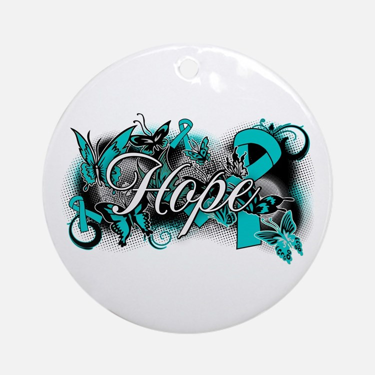 Ovarian Cancer Hope Garden Ribbon Ornament (Round)