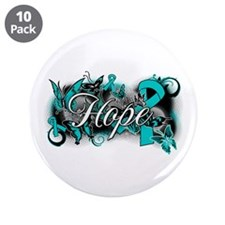 "Ovarian Cancer Hope Garden Ribbon 3.5"" Button (10"