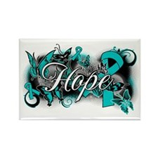 Ovarian Cancer Hope Garden Ribbon Rectangle Magnet