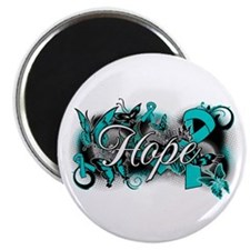 Ovarian Cancer Hope Garden Ribbon Magnet