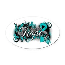 Ovarian Cancer Hope Garden Ribbon Oval Car Magnet