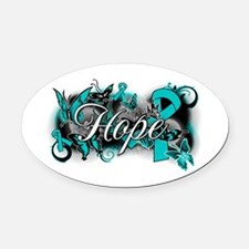 Ovarian Cancer Hope Garden Ribbon Oval Car Magnet