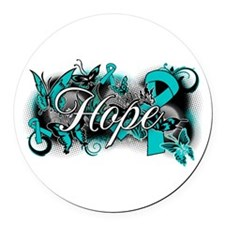 Ovarian Cancer Hope Garden Ribbon Round Car Magnet