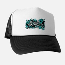 Ovarian Cancer Hope Garden Ribbon Trucker Hat