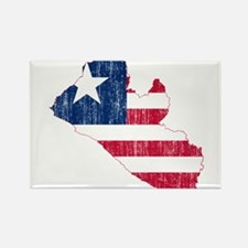 Liberia Flag And Map Rectangle Magnet
