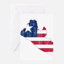 Liberia Flag And Map Greeting Card