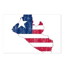 Liberia Flag And Map Postcards (Package of 8)