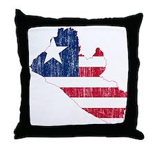 Liberia Flag And Map Throw Pillow