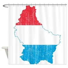 Luxembourg Flag And Map Shower Curtain