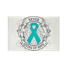 Ovarian Cancer NEVER GIVING UP HOPE Rectangle Magn