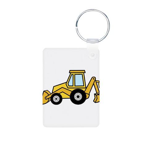 Cute Yellow Tractor Aluminum Photo Keychain