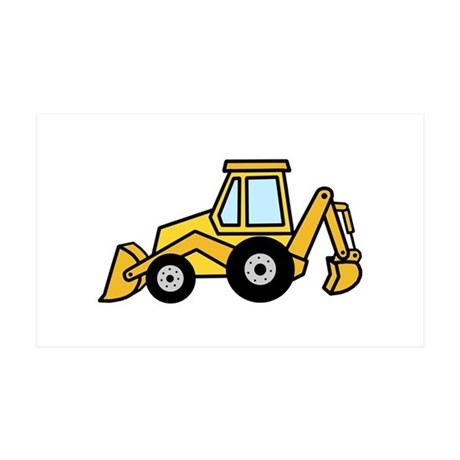 Cute Yellow Tractor 35x21 Wall Decal