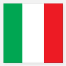 "Italy Flag Square Car Magnet 3"" x 3"""