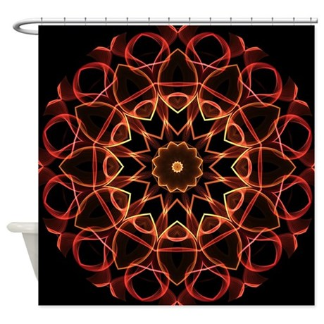 Yellow and Red magical kaleidoscope Shower Curtain