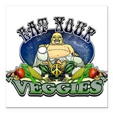 "EAT YOUR VEGGIES Square Car Magnet 3"" x 3"""