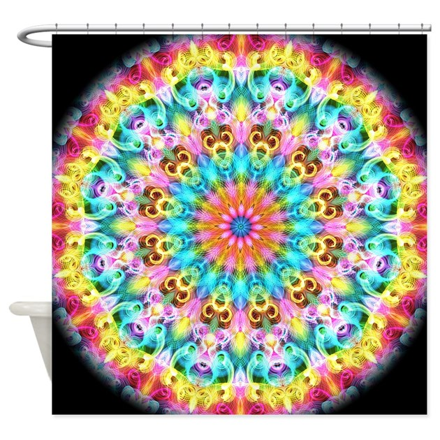 Swirling Bright Rainbow Mandala Shower Curtain By Zandiepants