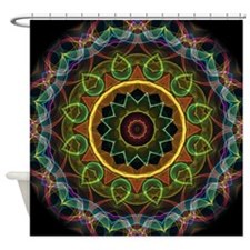 Mandala Eggs and Leaves Shower Curtain