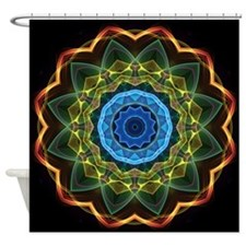 Kaleidoscope Sky and Leaves Shower Curtain