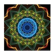 Kaleidoscope Sky and Leaves Tile Coaster