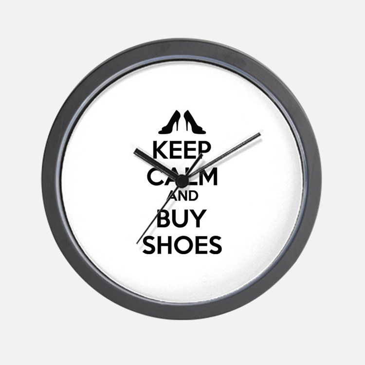 Keep calm and buy shoes Wall Clock