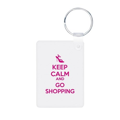 Keep calm and go shopping Aluminum Photo Keychain