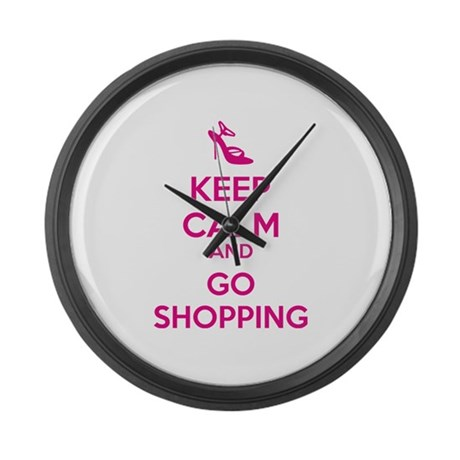 Keep calm and go shopping Large Wall Clock