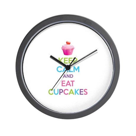 Keep calm and eat cupcakes Wall Clock