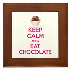 Keep calm and eat chocolate Framed Tile