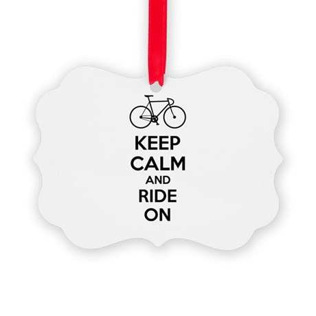 Keep calm and ride on Picture Ornament