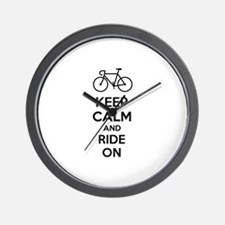 Keep calm and ride on Wall Clock