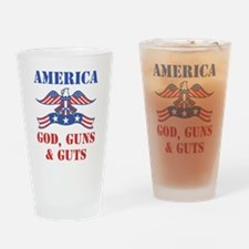 America God, Guns and Guts Drinking Glass