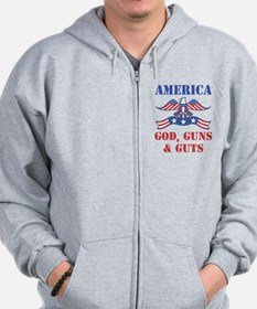America God, Guns and Guts Zip Hoodie