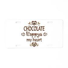 Chocolate Happy Aluminum License Plate