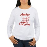 Amber On Fire Women's Long Sleeve T-Shirt