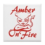 Amber On Fire Tile Coaster