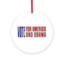 Vote For Obama Ornament (Round)