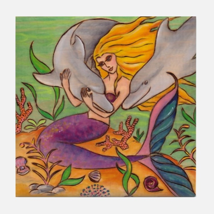 Mermaid and Dolphins Tile Coaster