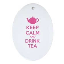 Keep calm and drink tea Ornament (Oval)
