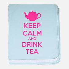 Keep calm and drink tea baby blanket