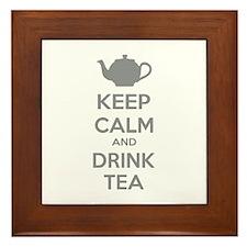 Keep calm and drink tea Framed Tile