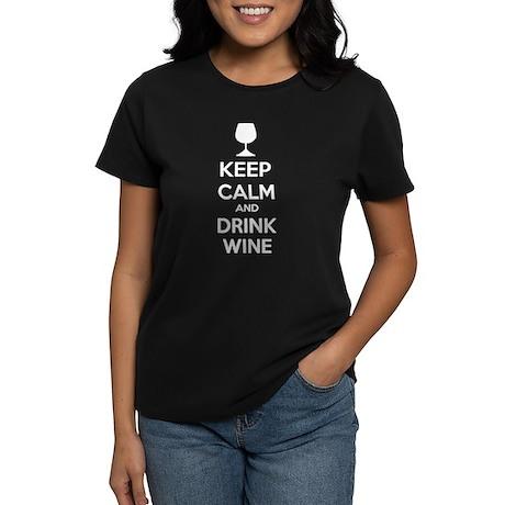 Keep calm and drink wine Women's Dark T-Shirt
