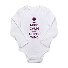 Keep calm and drink wine Long Sleeve Infant Bodysu