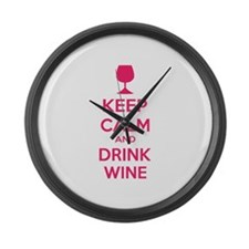 Keep calm and drink wine Large Wall Clock