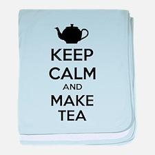 Keep calm and make tea baby blanket