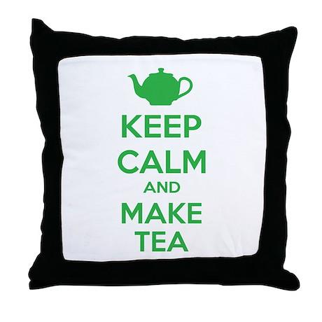 Keep calm and make tea Throw Pillow