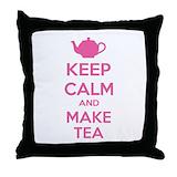 Keep calm make tea Throw Pillows
