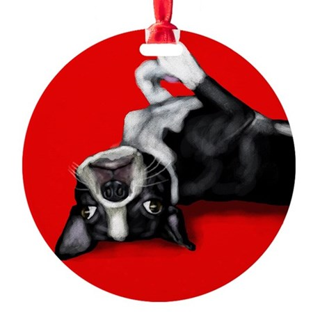 BOSTON TERRIER DOG Ornament (Round)