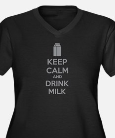 Keep calm and drink milk Women's Plus Size V-Neck