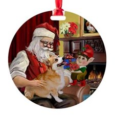 Santa & His Pembroke Welsh Corgi Keepsake (Round)